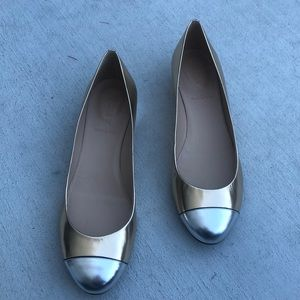 J Crew 10 Cap Toe Gold Silver Kitty Heels Shoes